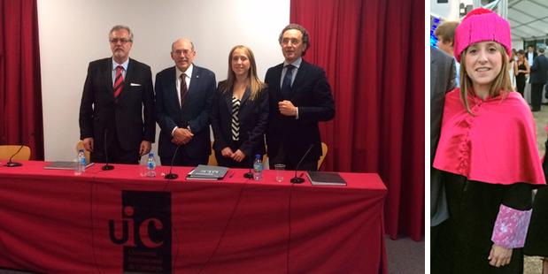 La Dra. Nuria Molina Berlanga el día de la defensa de su tesis acompañada por los miembros del tribunal: Dr. José María Llamas-Carreras, Dr. Lluís Giner y Dr. Juan Carlos Palma.