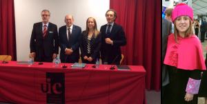 La Dra. Nuria Molina Berlanga el dia de la defensa de la seva tesi acompanyada pels membres del tribunal: Dr. José María Llamas-Carreras, Dr. Lluís Giner i Dr. Juan Carlos Palma.